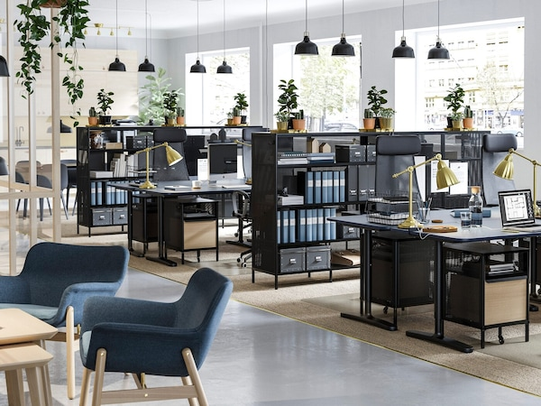 how to design the workplace for social distancing - business premises with sit and stand desks shelving units ch f0a37905453d849fa3c6fa4db3e920931 - How to Design the Workplace for Social Distancing
