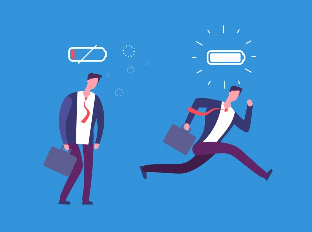 work environment - full energy tired businessman powerful flat person with full charge uncharged battery 53562 89461 - What's The Best Work Environment for Your Personality? [Quiz]